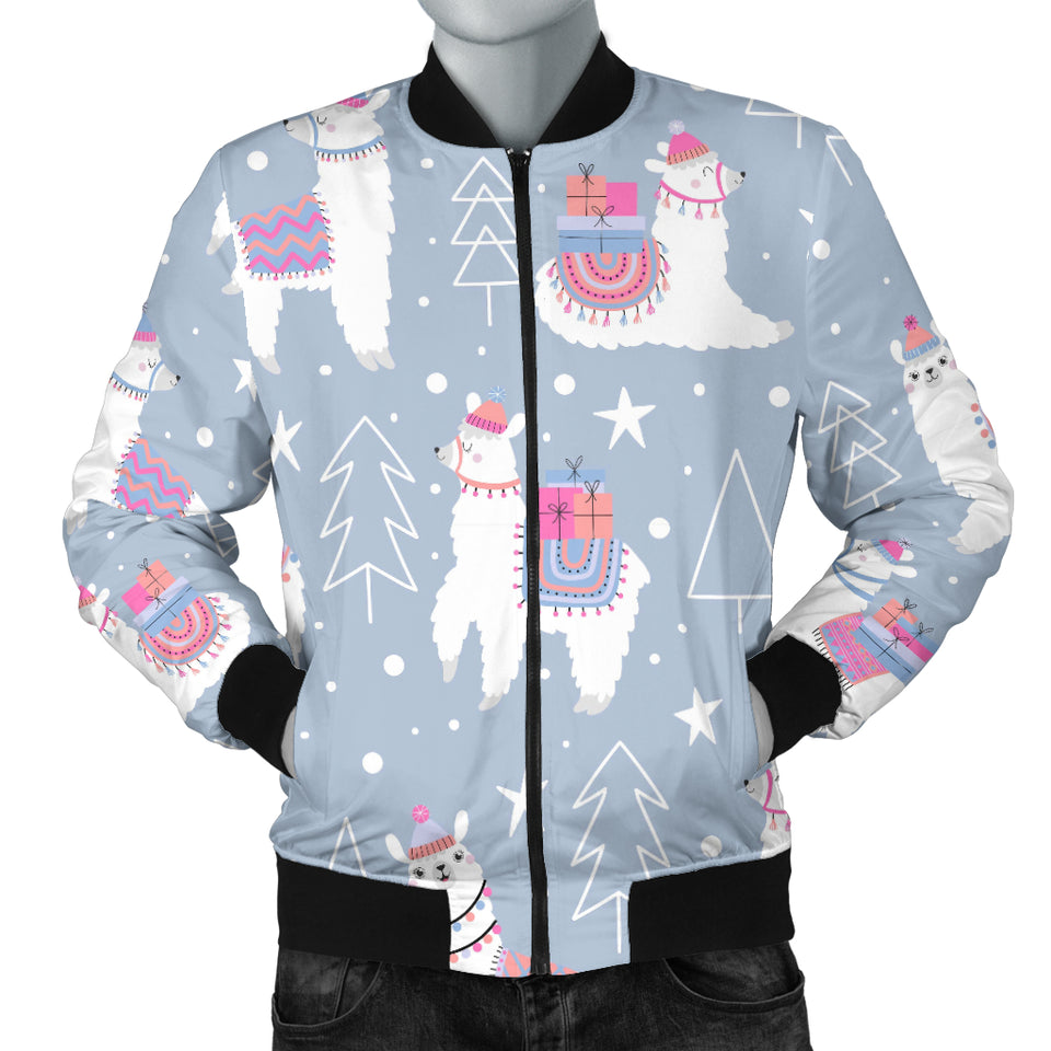 Llama Chirstmas Pattern Men Bomber Jacket