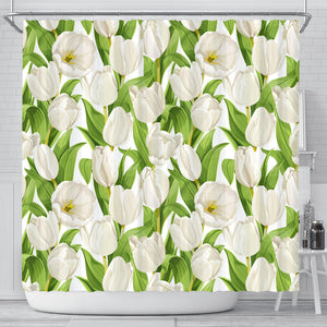 White Tulip Pattern Shower Curtain Fulfilled In US
