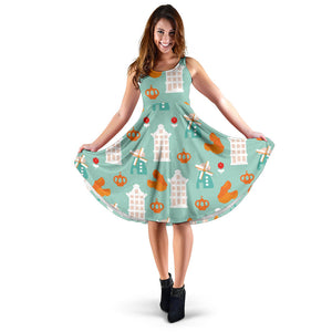 Windmill Pattern Theme Sleeveless Midi Dress