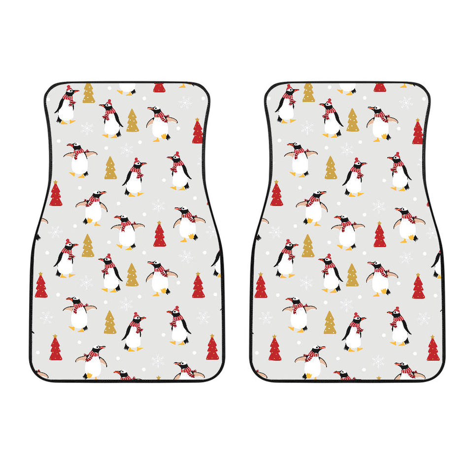 Penguin Christmas Tree Pattern Front Car Mats