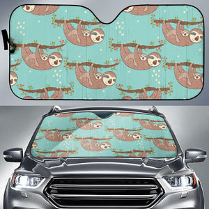 Sloth Mom and baby Pattern Car Sun Shade