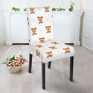 Yorkshire Terrier Pattern Print Design 03 Dining Chair Slipcover
