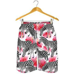 Zebra Red Hibiscus Pattern Men Shorts