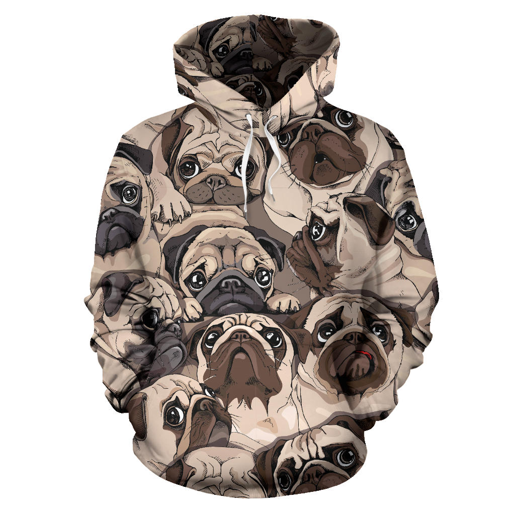 Pug Pattern Background Pullover Hoodie