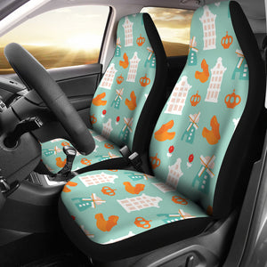 Windmill Pattern Theme Universal Fit Car Seat Covers