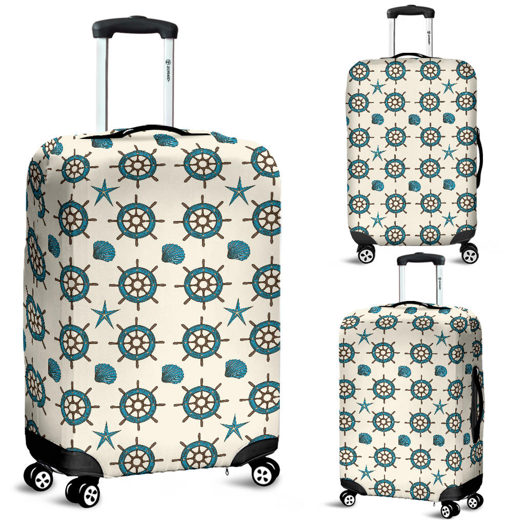 Nautical Steering Wheel Rudder Shell Pattern Luggage Covers