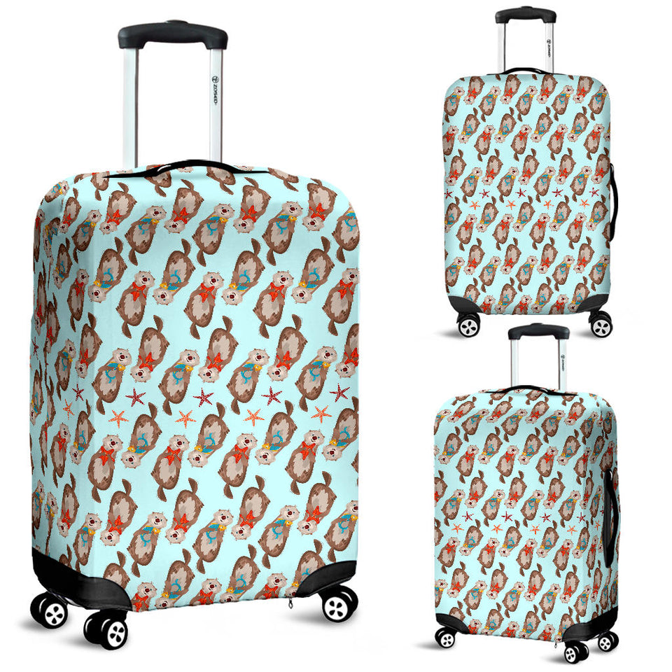 Otter Pattern Background Luggage Covers