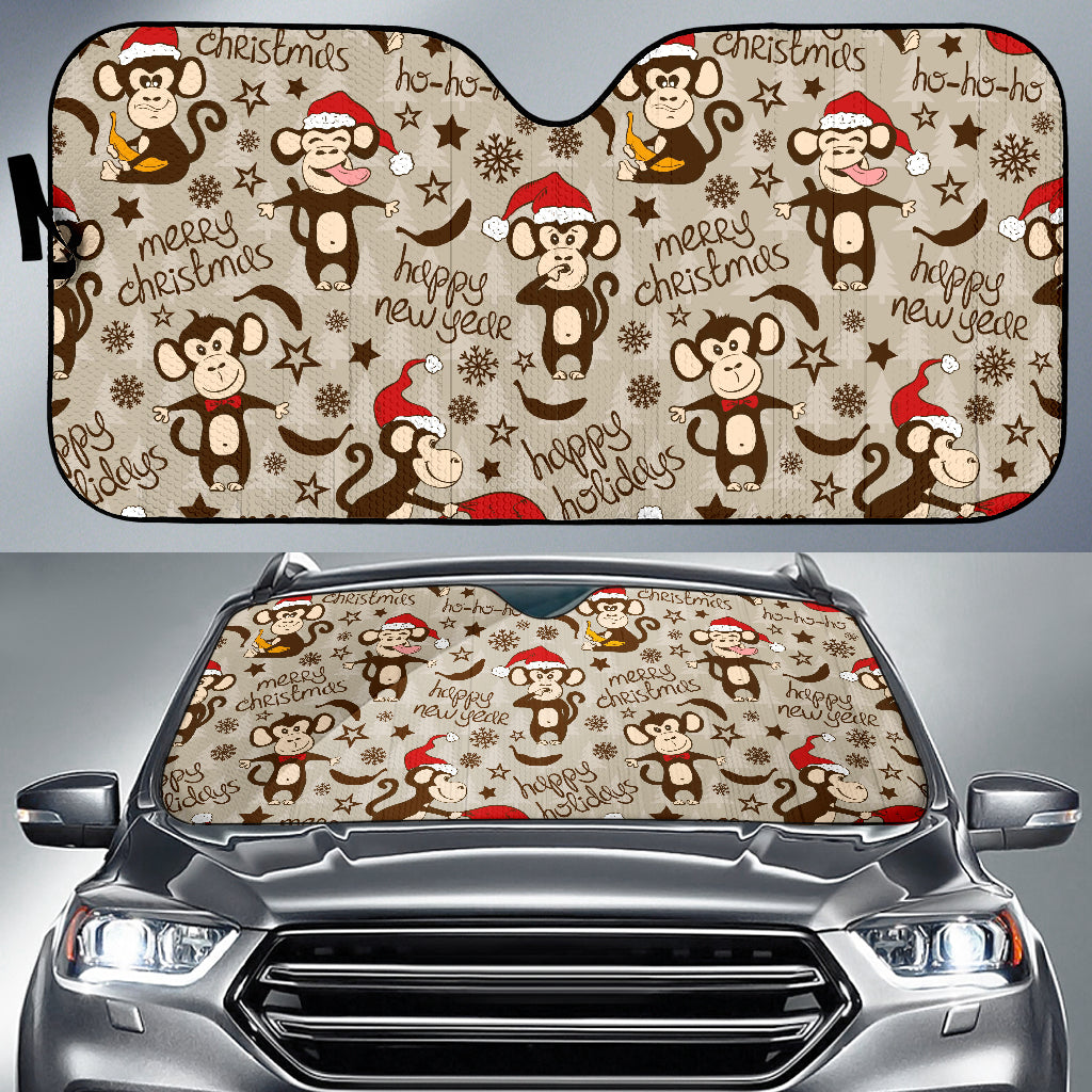 Monkey Christmas Pattern Car Sun Shade