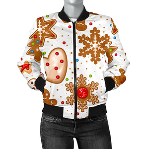 Christmas Cookie Pattern Women Bomber Jacket