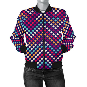 Zigzag Chevron Pokka Dot Aboriginal Pattern Women Bomber Jacket
