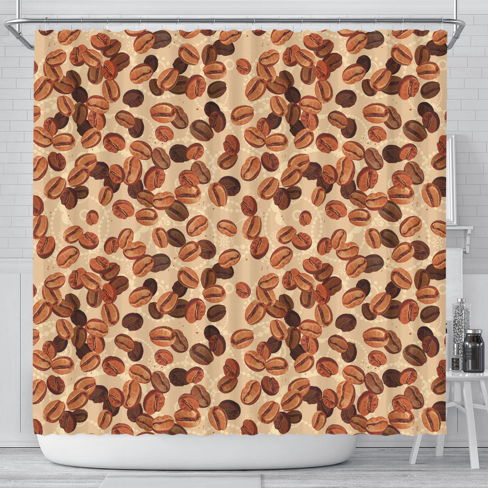 Coffee Bean Pattern Shower Curtain Fulfilled In US