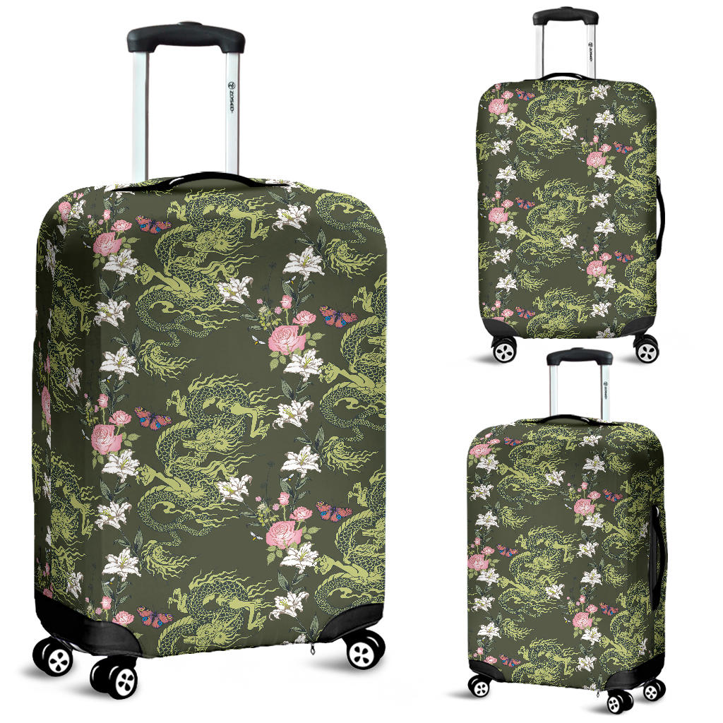 Green Dragon Rose Flower Pattern Luggage Covers