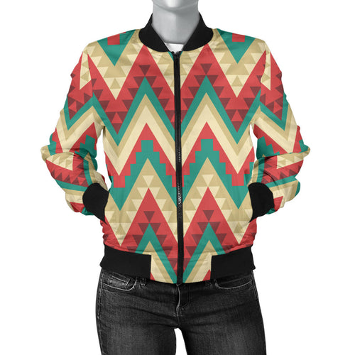 Zigzag Chevron Pattern Women Bomber Jacket