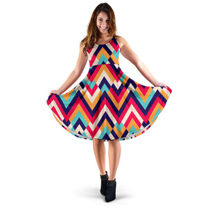 Zigzag Chevron Pattern Background Sleeveless Midi Dress