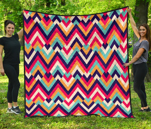 Zigzag Chevron Pattern Background Premium Quilt