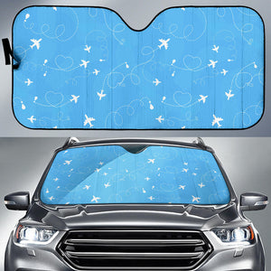 Airplane Pattern Blue Backgroung Car Sun Shade