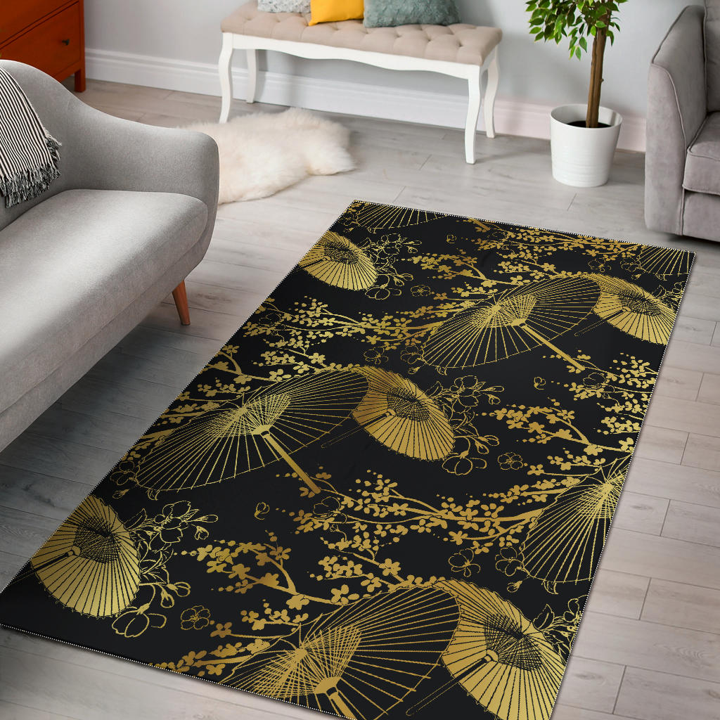 Gold Fan Flower Japanese Pattern Area Rug