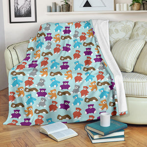 Teddy Bear Pattern Print Design 03 Premium Blanket