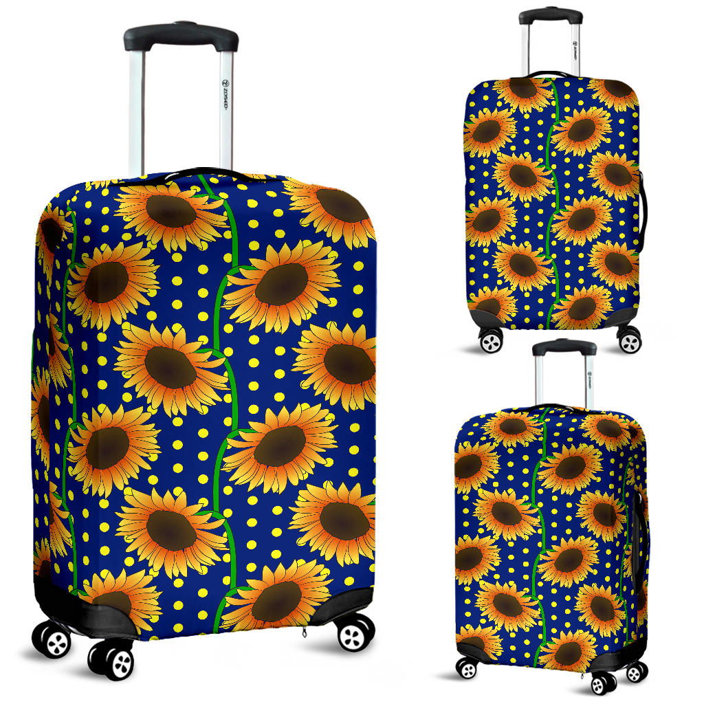 Sunflower Pokka Dot Pattern Luggage Covers