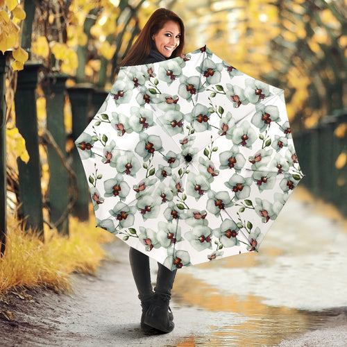 White Orchid Pattern Umbrella