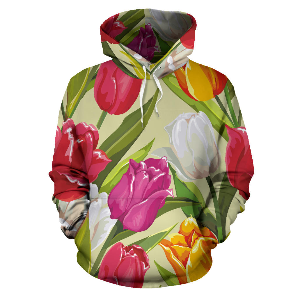 Colorful Tulip Pattern Pullover Hoodie