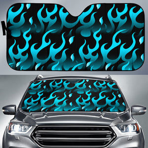 Blue Flame Fire Pattern Background Car Sun Shade