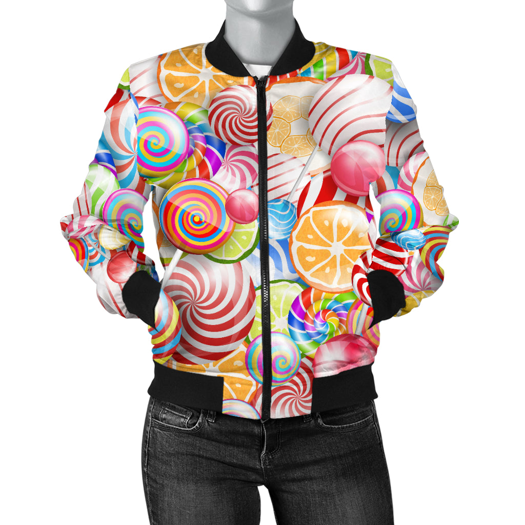 Candy Lollipop Pattern Women Bomber Jacket
