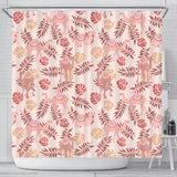 Pink Camel Leaves Pattern Shower Curtain Fulfilled In US