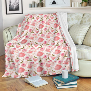 Tea pots Pattern Print Design 04 Premium Blanket