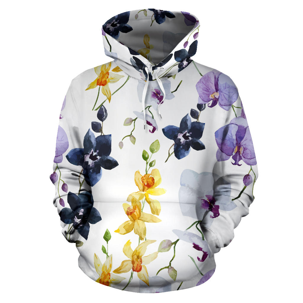 Orchid Pattern Background Men Women Pullover Hoodie