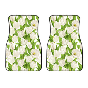 White Tulip Pattern Front Car Mats