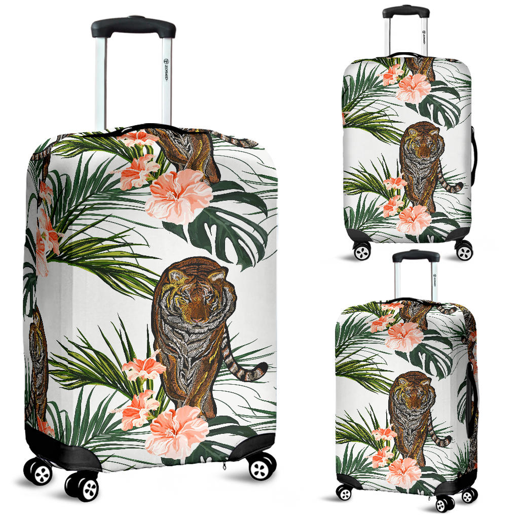 Bengal Tiger Hibicus Pattern Luggage Covers