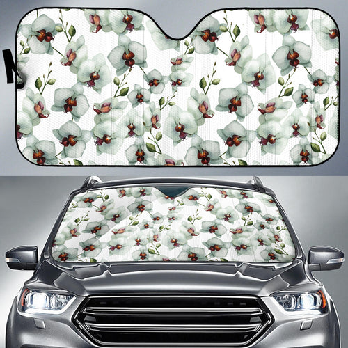 White Orchid Pattern Car Sun Shade