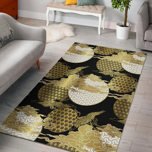 Gold Could Crane Japanese Pattern Area Rug