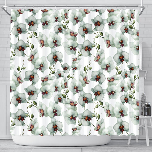 White Orchid Pattern Shower Curtain