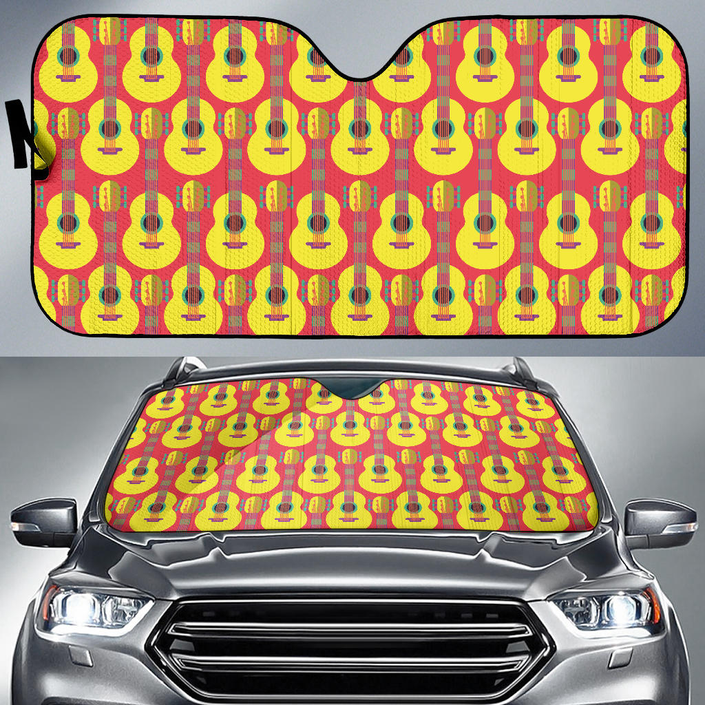 Classic Guitar Theme Pattern Car Sun Shade
