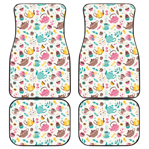 Tea pots Pattern Print Design 05 Front and Back Car Mats