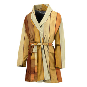 Wood Printed Pattern Print Design 01 Women Bathrobe