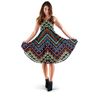Zigzag Chevron African Afro Dashiki Adinkra Kente Pattern Sleeveless Midi Dress