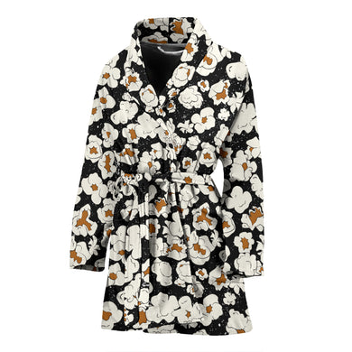 Popcorn Pattern Print Design 02 Women Bathrobe
