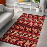 Elephant Red Pattern Ethnic Motifs Area Rug