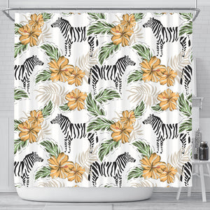 Zebra Hibiscus Pattern Shower Curtain Fulfilled In US