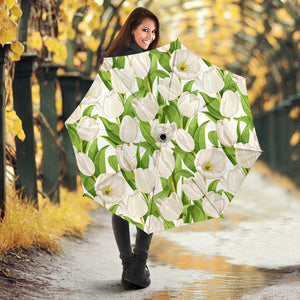 White Tulip Pattern Umbrella