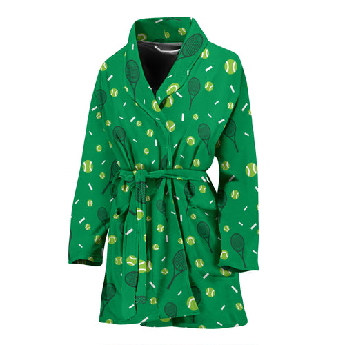 Tennis Pattern Print Design 03 Women Bathrobe