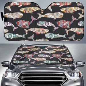 Whale Flower Tribal Pattern Car Sun Shade