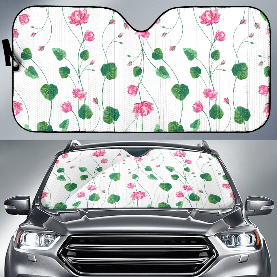 Pink Lotus Waterlily Flower Pattern Car Sun Shade