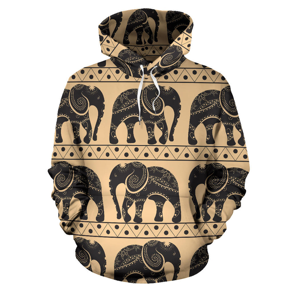 Elephant Pattern Ethnic Motifs Men Women Pullover Hoodie