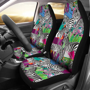 Zebra Colorful Pattern Universal Fit Car Seat Covers