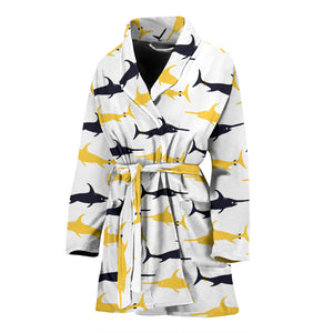 Swordfish Pattern Print Design 05 Women Bathrobe
