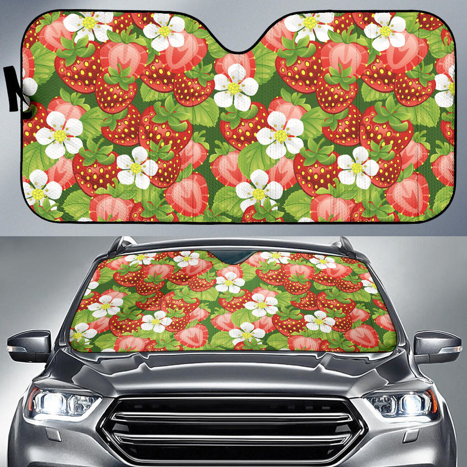 Strawberry Leaves Flower Pattern Car Sun Shade
